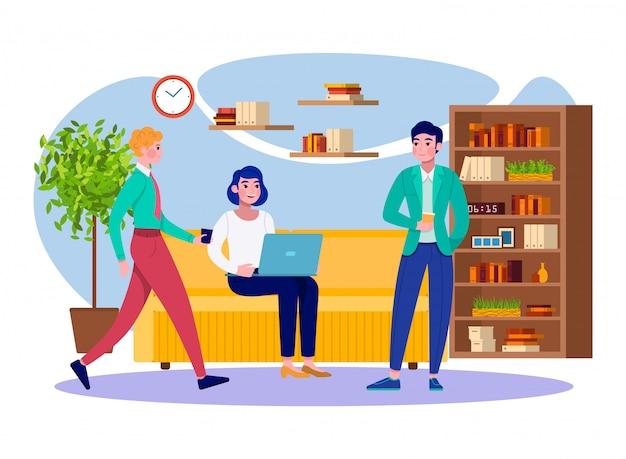 Büro kaffeepause geschäftsleute team entspannen bei der arbeit illustration. kolleginnen und kollegen von jungen männern und frauen, die zusammen im firmenbüro eine kaffeepause einlegen und sich treffen. Premium Vektoren