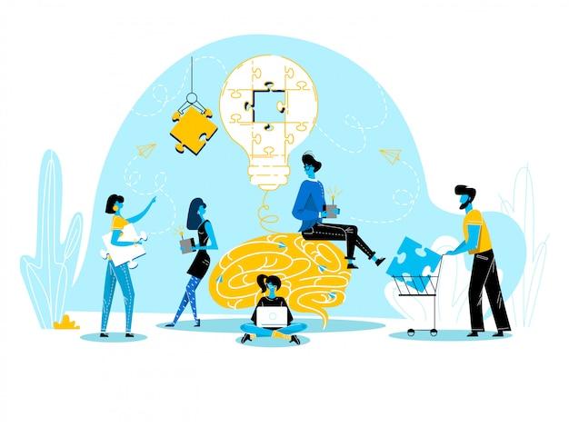 Büro-leute arbeiten zusammen die einrichtung der enormen glühlampe, die auf puzzlespiel-stück-wirtschaftlern in coworking place teamwork getrennt wird und suchen neue idee nach geschäftsprojekt Premium Vektoren