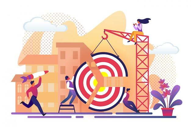 Büro-leute, die großes ziel zusammenbauen Premium Vektoren
