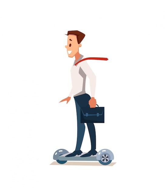 Büro spaß. büroangestellte bei gyroscooter Premium Vektoren
