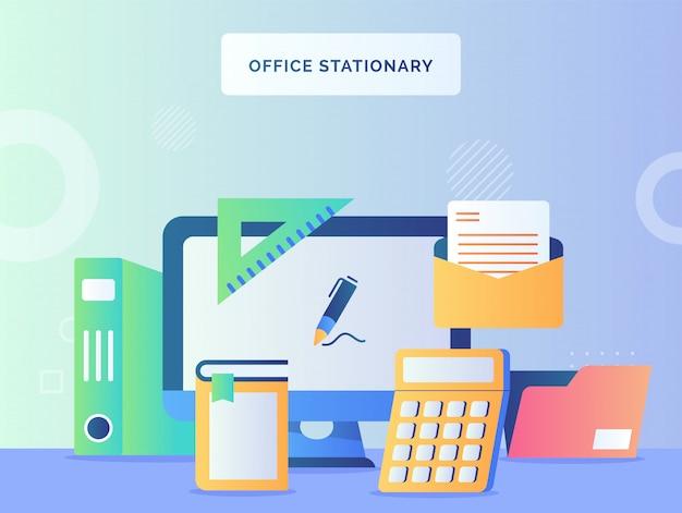 Büro stationärer konzeptmonitor computerhintergrund des rechners buch mail datei ordner lineal mit flachem stil. Premium Vektoren
