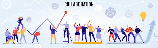Büro-teamwork-konzept mit menschen, die flach horizontal zusammenarbeiten Kostenlosen Vektoren