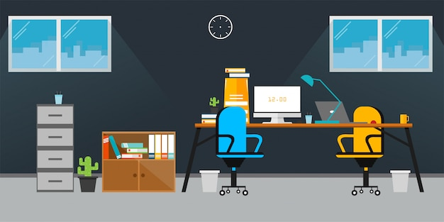 Büro-vektor-illustration Premium Vektoren