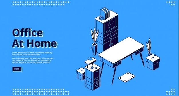 Büro zu hause, isometrische landingpage, arbeitsplatz Kostenlosen Vektoren