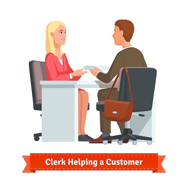 Büroangestellte arbeitet mit kunden Kostenlosen Vektoren