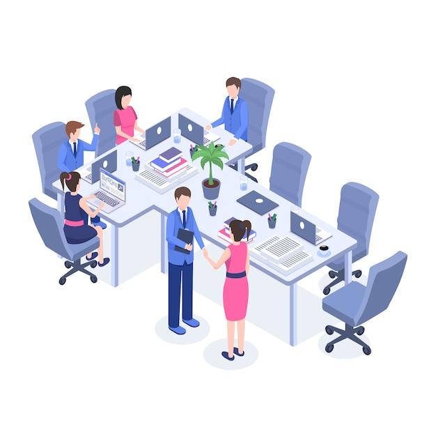 Büroangestellte, chef und angestellte an den zeichentrickfilm-figuren des arbeitsplatzes 3d. Premium Vektoren