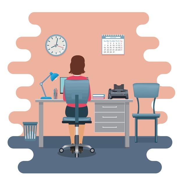 Büroangestellte der frau am arbeitsplatz, der mit ihrem rücken am tisch mit laptop sitzt. Premium Vektoren