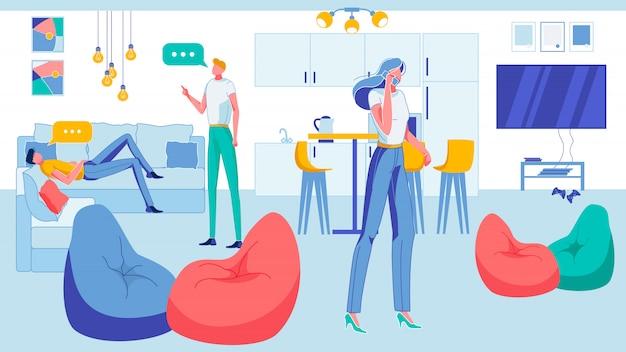 Büroangestellte, die sich in der küche ausruhen, mittagspause. Premium Vektoren