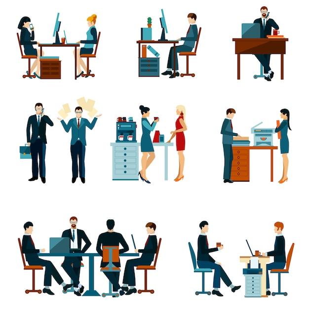 Büroangestellte icons Kostenlosen Vektoren