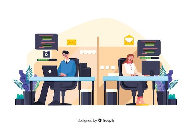 Büroangestellte sitzen an schreibtischen zusammen Kostenlosen Vektoren