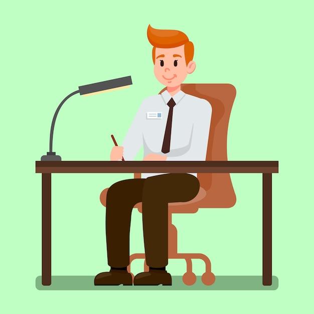 Büroangestellter, der an der schreibtisch-vektor-illustration sitzt Premium Vektoren