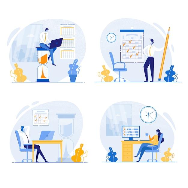 Büroangestellter, der aufgaben vor fristen-vektor erledigt. Premium Vektoren