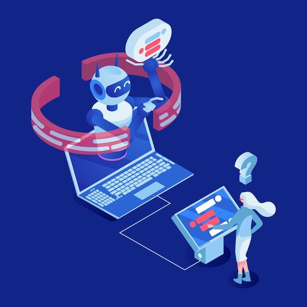 Büroangestellter, der mit zeichentrickfilm-figur der digitalanzeige 3d arbeitet Premium Vektoren