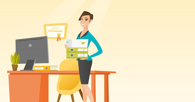 Büroangestellter, der stapel von ordnern hält. Premium Vektoren
