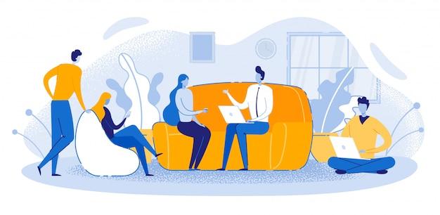 Büroangestellter-konferenzzimmer-leute sitzen sofa talking Premium Vektoren