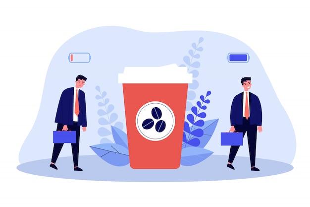 Büroangestellter lädt seine batterie mit kaffeeenergie auf Premium Vektoren