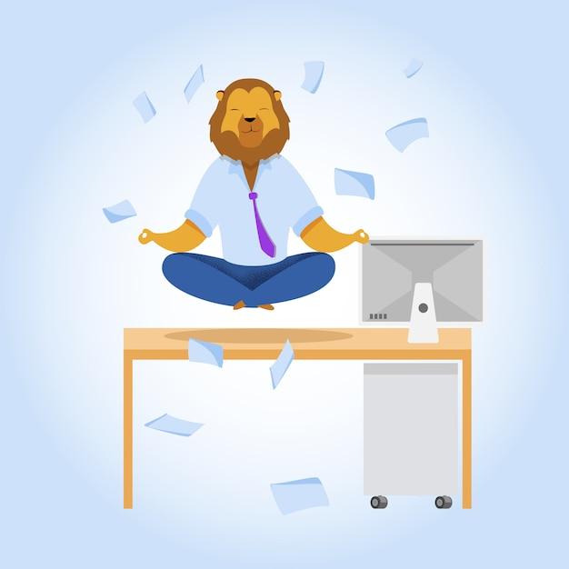 Büroangestellter mit lion head meditierend clipart Kostenlosen Vektoren
