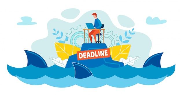 Büroangestellter schwimmt unter haien im ozean oder im meer. Premium Vektoren