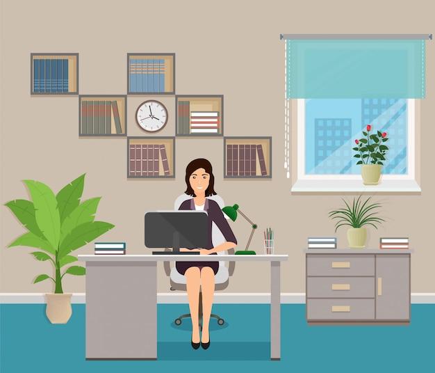 Büroangestellter sitzt am arbeitsplatz am tisch mit laptop. geschäftsfrauencharakter im büroinnenraum Premium Vektoren