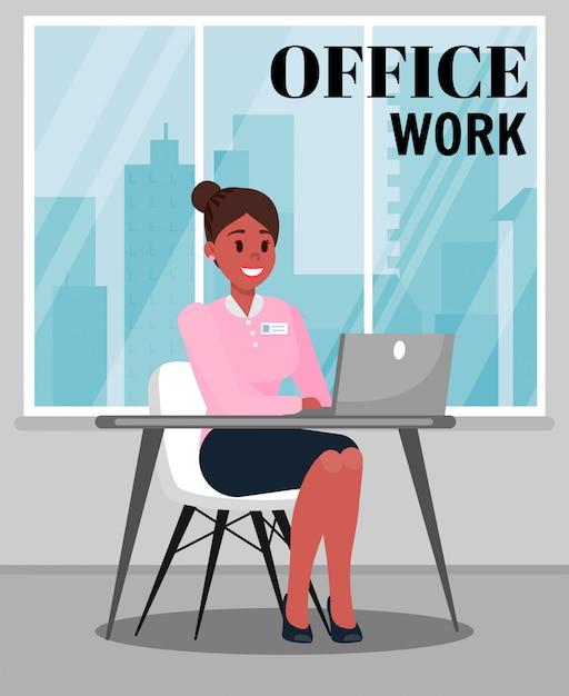 Büroarbeits-farbvektorillustration mit text Premium Vektoren