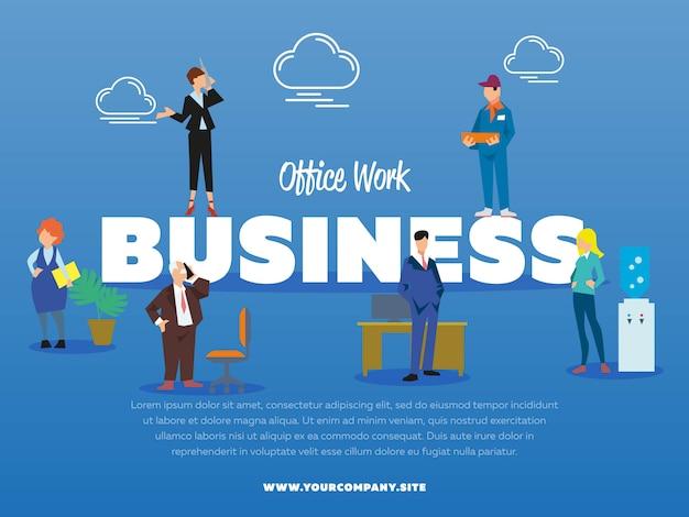 Büroarbeitsgeschäftsfahne mit leuten Premium Vektoren