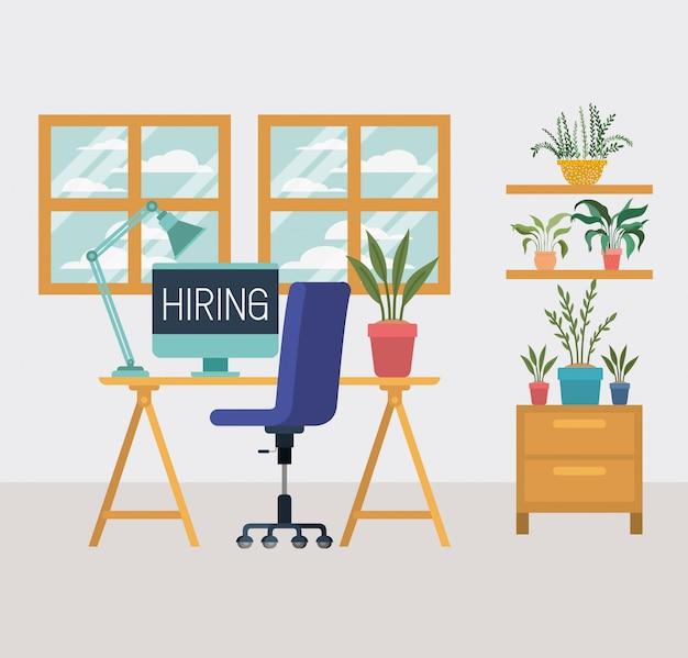 Büroarbeitsplatz mit wir stellen mitteilung an Premium Vektoren