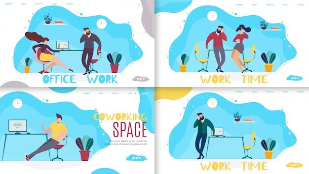 Büroarbeitszeit und coworking space schriftzug landing page set Premium Vektoren