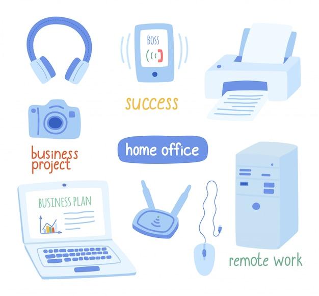 Büroausstattung, das konzept der fernarbeit, büro. Premium Vektoren