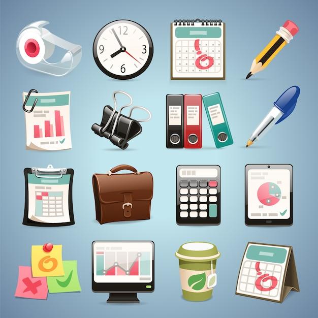 Büroausstattung icons set Premium Vektoren