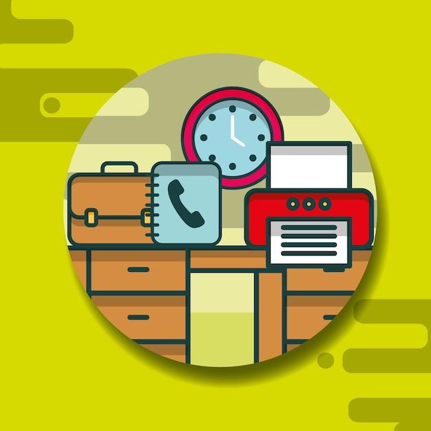 Bürobedarf und menschen Premium Vektoren