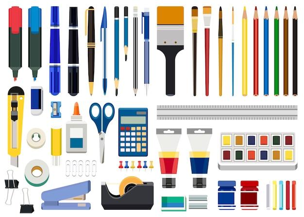 Bürobriefpapier- und -kunstwerkzeuge lokalisiert auf weißem hintergrund Kostenlosen Vektoren