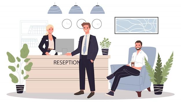 Büroempfangsillustration Premium Vektoren