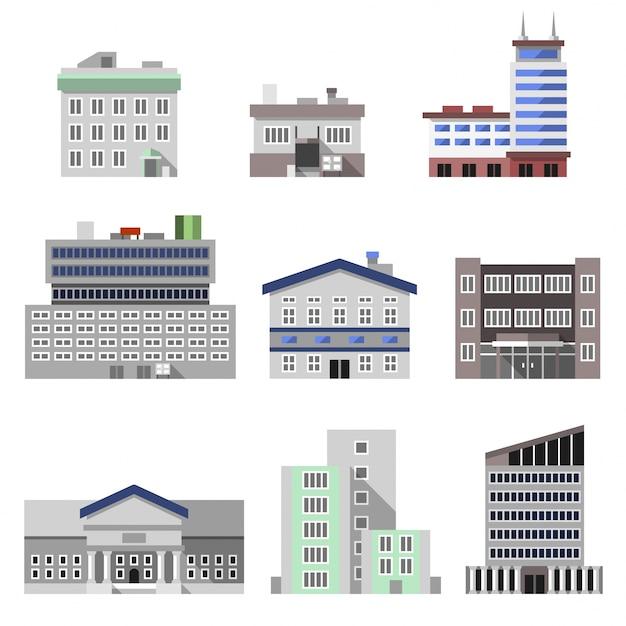 Bürogebäude flach Kostenlosen Vektoren