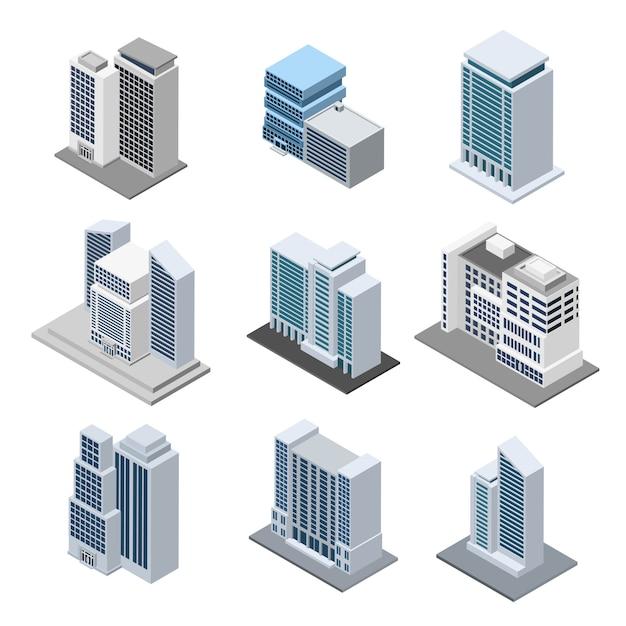 Bürogebäude isometrisch Kostenlosen Vektoren
