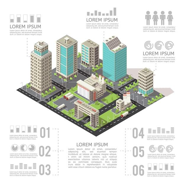 Bürogebäude isometrische infografiken Kostenlosen Vektoren