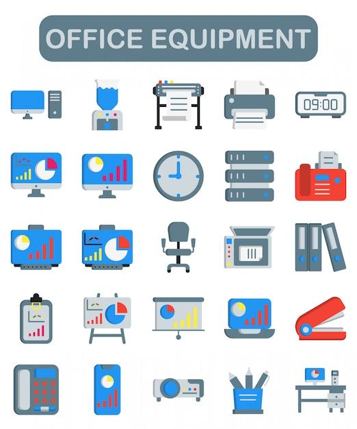 Bürogeräte-symbole im flachen stil Premium Vektoren