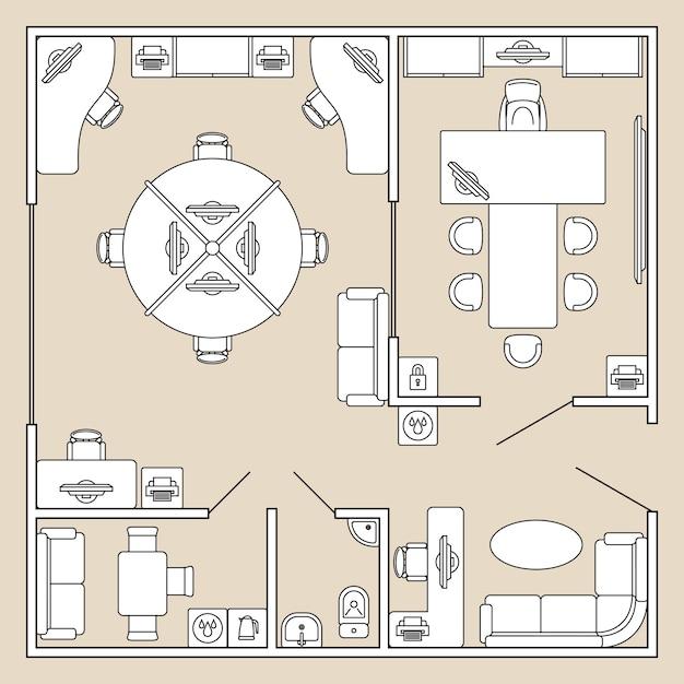 Büroinnenraum, draufsichtarchitekturplan-vektorillustration Premium Vektoren