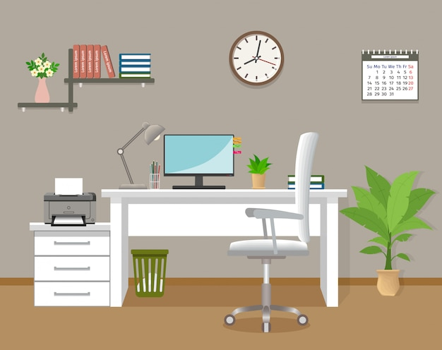 Büroinnenraum ohne leute. arbeitsinnenraumschablone im unternehmensgebäude. büroraum mit möbeln und fenster. flache vektor-illustration. Premium Vektoren