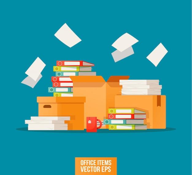 Bürokratie, papierkram, büroikone. arbeiten mit dem archivdruck. Premium Vektoren