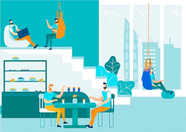Büroleute, die coworking-raum sprechen und teilen Premium Vektoren