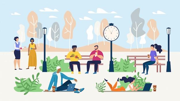 Büroleute stehen während der kaffeepause im park still Premium Vektoren