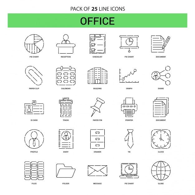 Bürolinie-ikonen-satz - 25 gestrichelte entwurfs-art Premium Vektoren