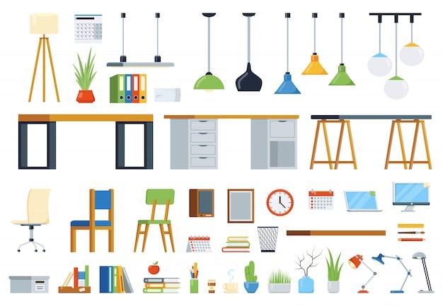 Büromöbel, zubehör und pflanzen. kreationsset für den arbeitsplatz. satz von vektorelementen Premium Vektoren