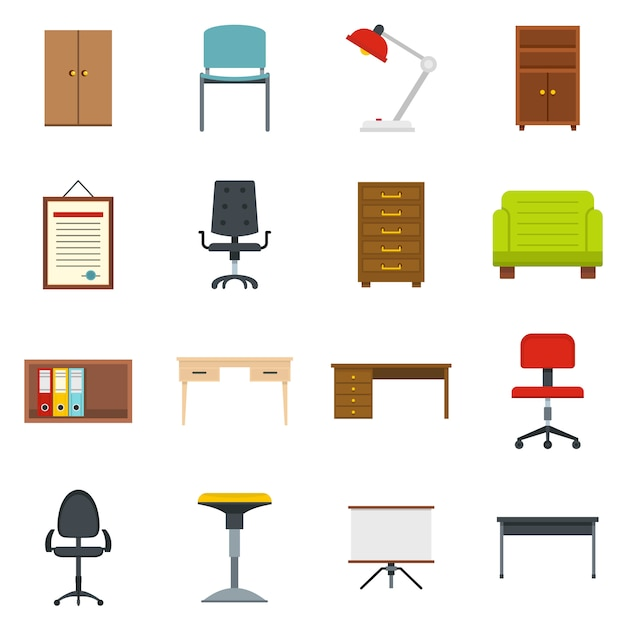 Büromöbelikonen eingestellt in flache art Premium Vektoren