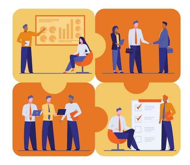 Büropersonal plant und diskutiert arbeitsprojekt Kostenlosen Vektoren