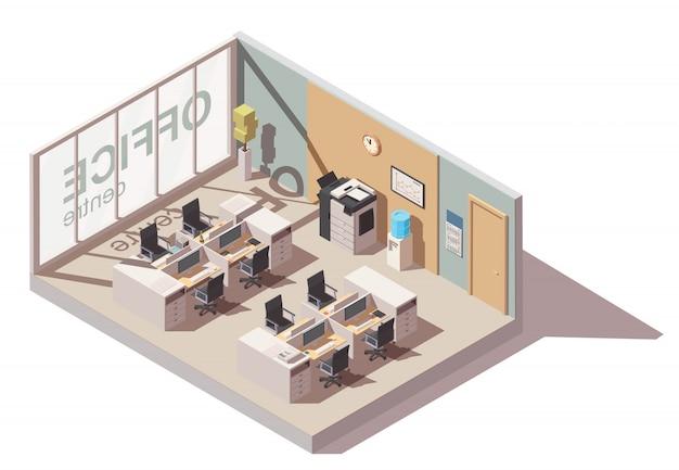 Büroraum mit kabinenarbeitsplätzen und büroausstattung Premium Vektoren