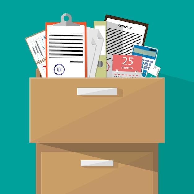 Büroschrank mit zubehör Premium Vektoren