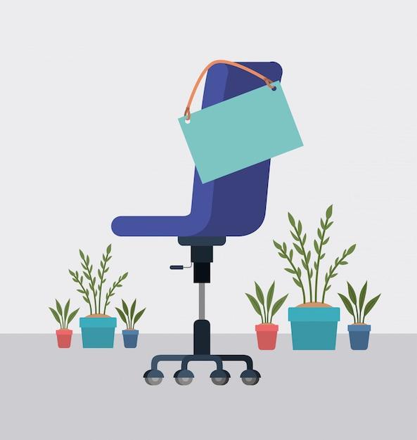 Bürostuhl mit label hängen und zimmerpflanzen Premium Vektoren