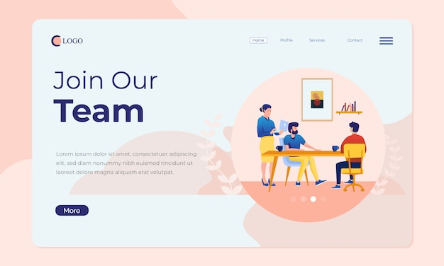 Büroszene für landingpage oder web-banner Premium Vektoren
