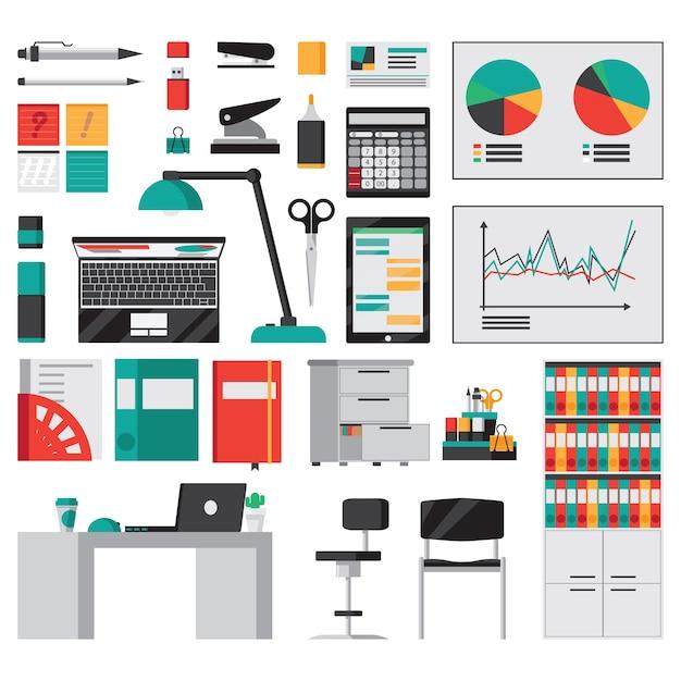 Bürozubehör und briefpapier flache symbole lokalisiert Kostenlosen Vektoren